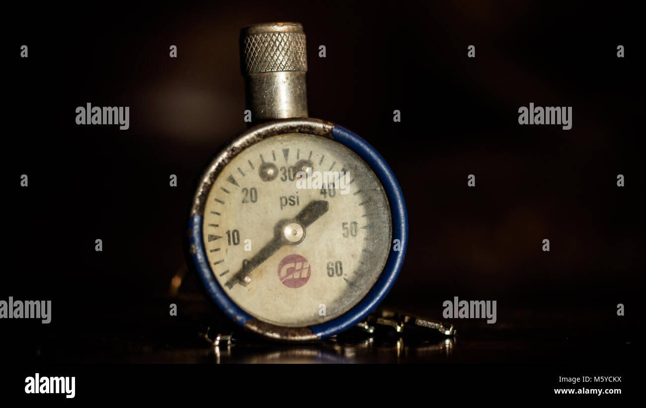 Vintage Tire Pressure Gauge - Stock Image
