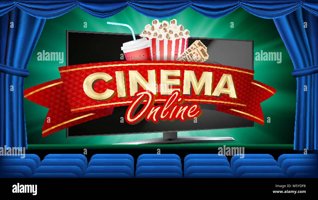 Online Cinema Banner Vector Realistic Computer Monitor Movie Stock Vector Image Art Alamy