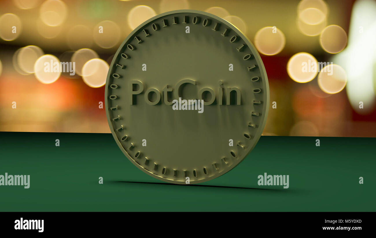 Gold coin with the inscription PotCoin stands on a green cloth, against a background of a holiday - Stock Image
