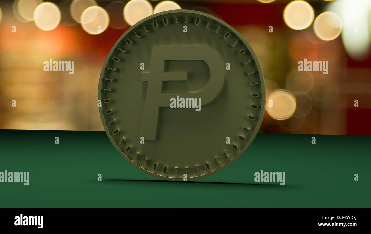 Gold coin with the symbol of the digital crypt of currency Potcoin stands on a green cloth, on a background of a - Stock Image