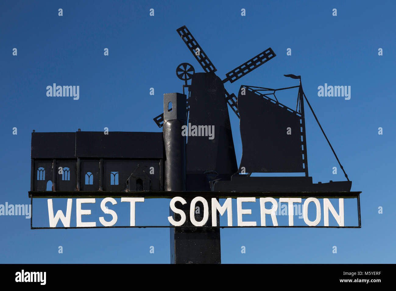 Traditional village sign for West Somerton in the Norfolk Broads. - Stock Image