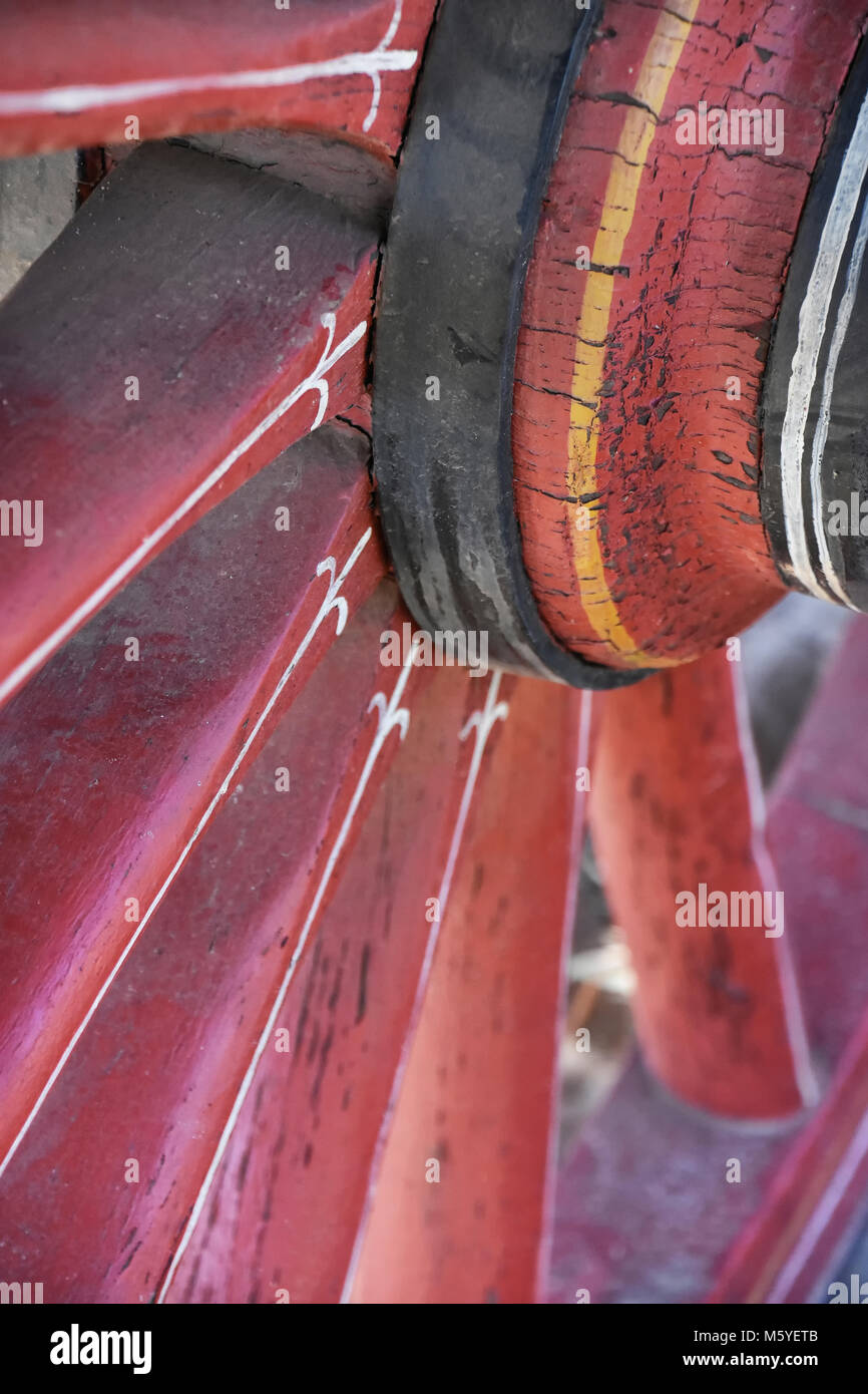 Old Painted Wagon Wheel High Resolution Stock Photography And Images Alamy