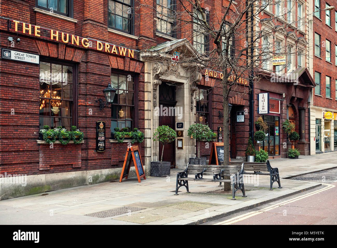 Famous historic Hung Drawn & Quartered pub in London, UK. - Stock Image
