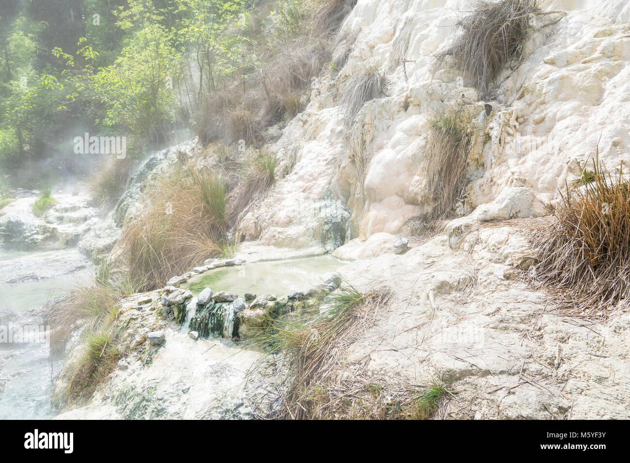 Limestone formations at the hot springs of the Bagni di San Filippo ...