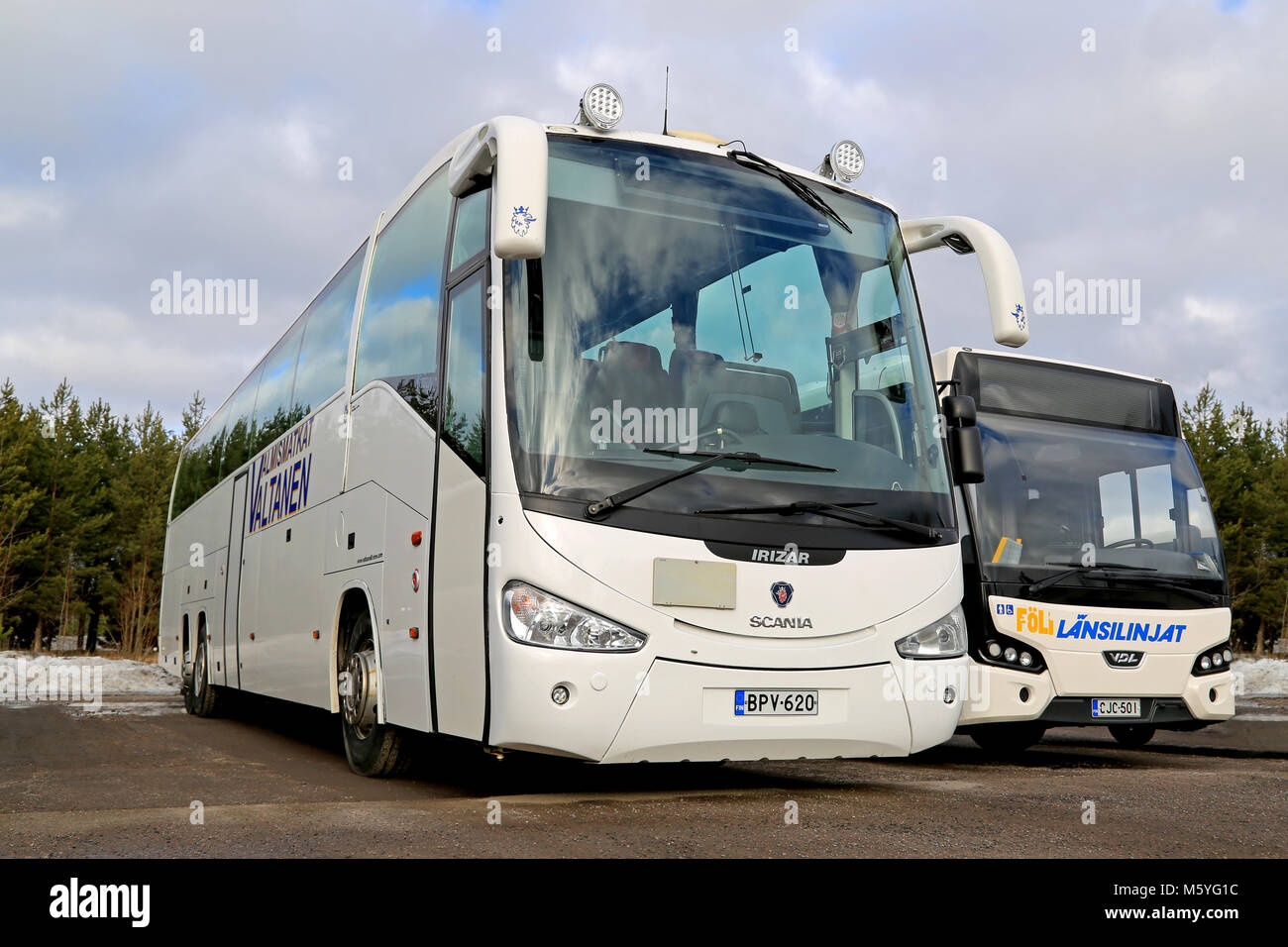 Low Floor City Bus Stock Photos Scania Irizar Wiring Diagram Aura Finland March 1 2015 White Coach And Vdl