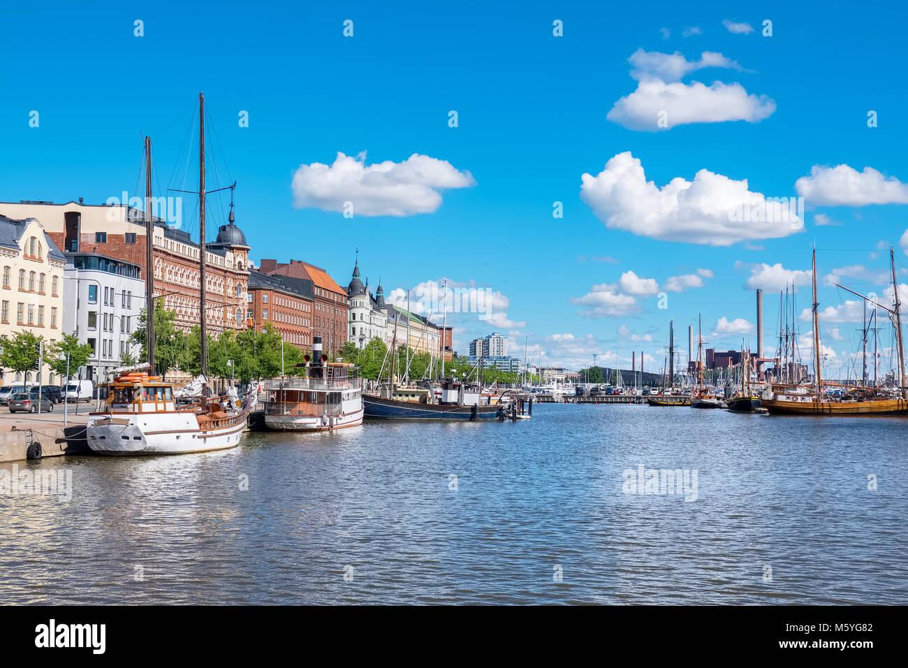 Boats moored in North Harbour (Pohjoissatama). Helsinki. Finland, Scandinavia, Europe Stock Photo