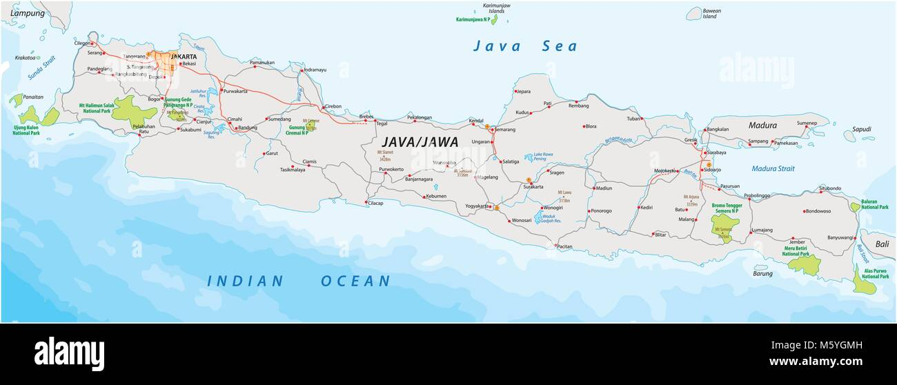 Vector road and national park map of the Indonesian island java - Stock Image