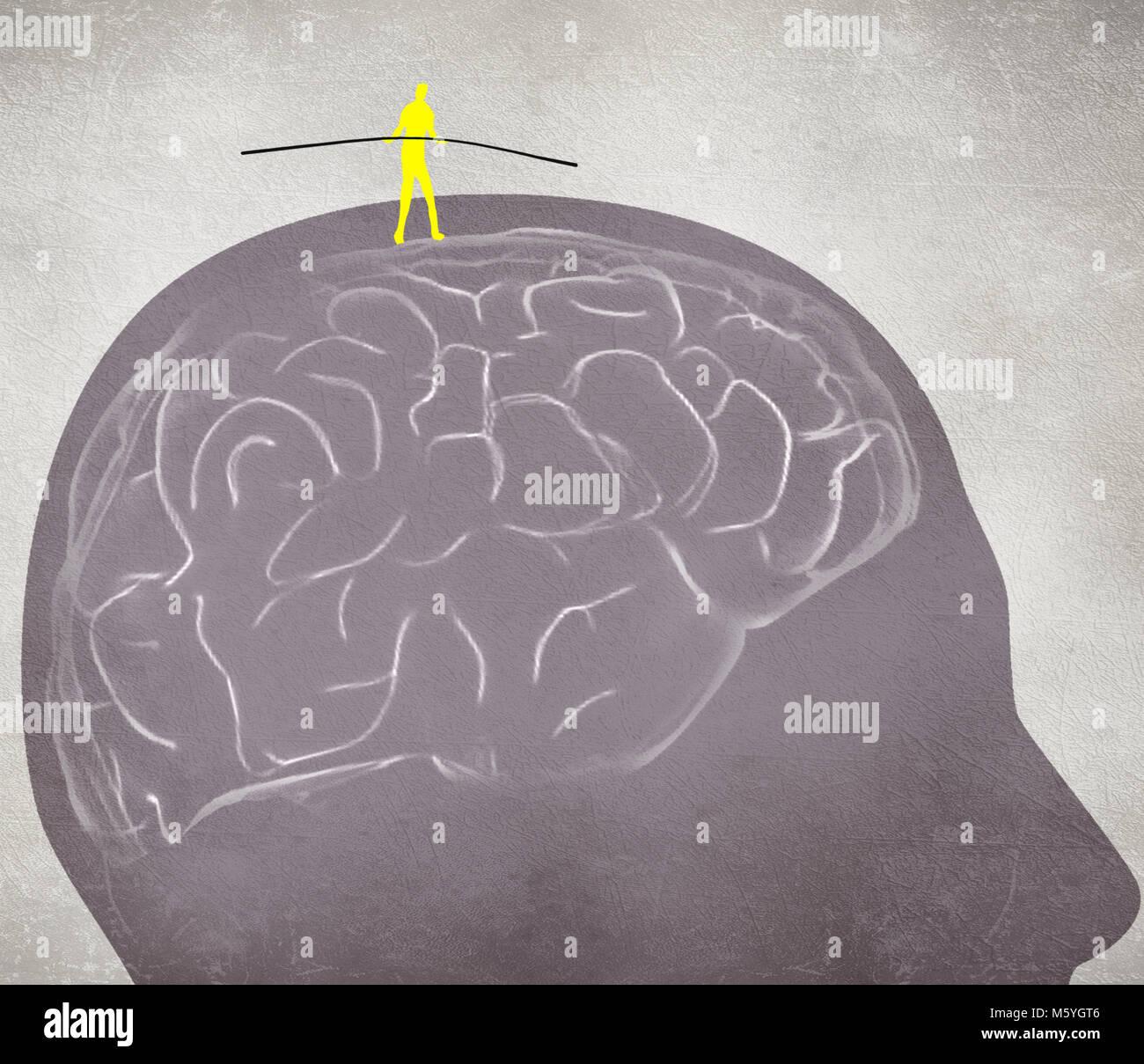 equilibrist walking on the brain digital illustration - Stock Image
