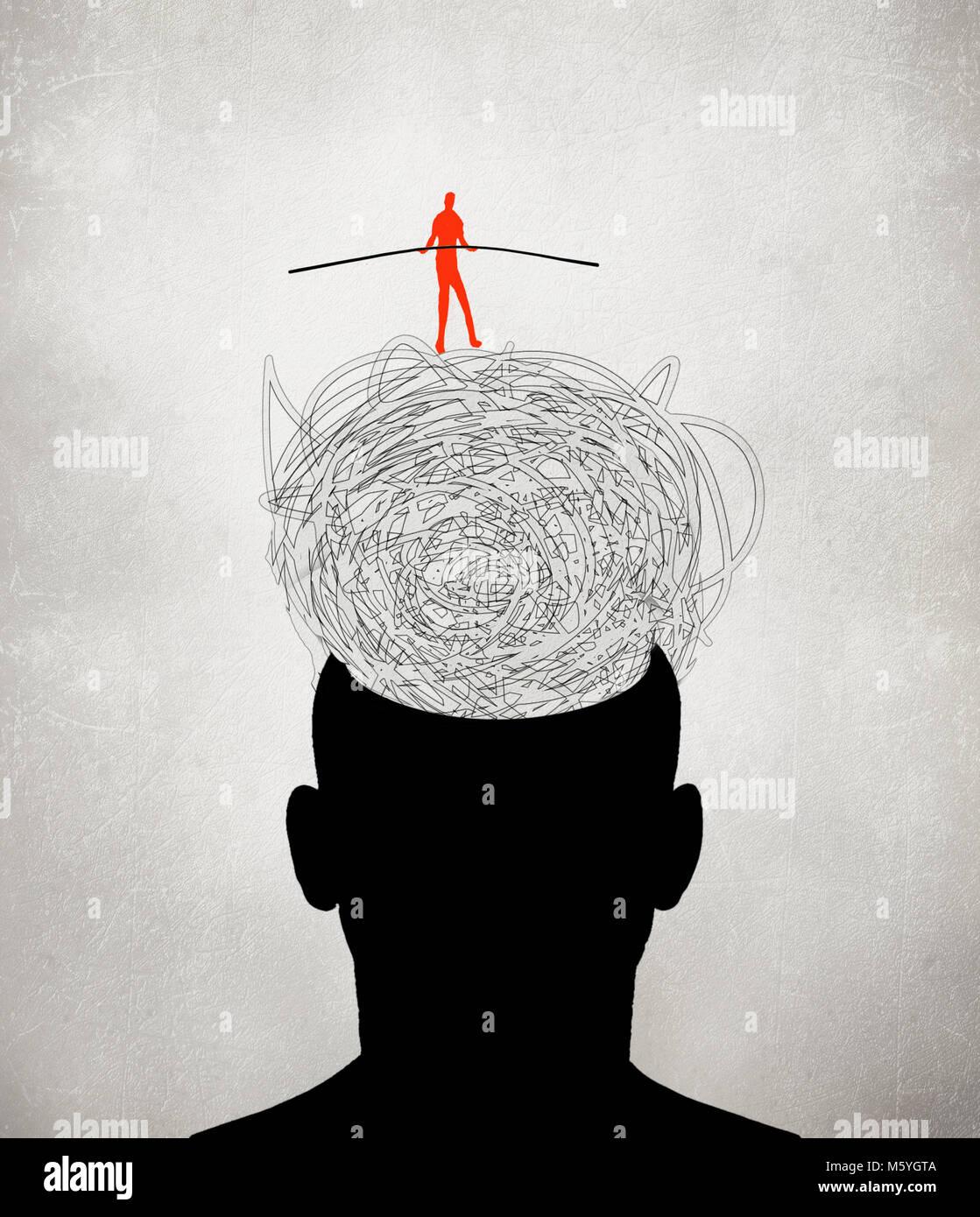 equilibrist walking on muddled thoughts digital illustration - Stock Image