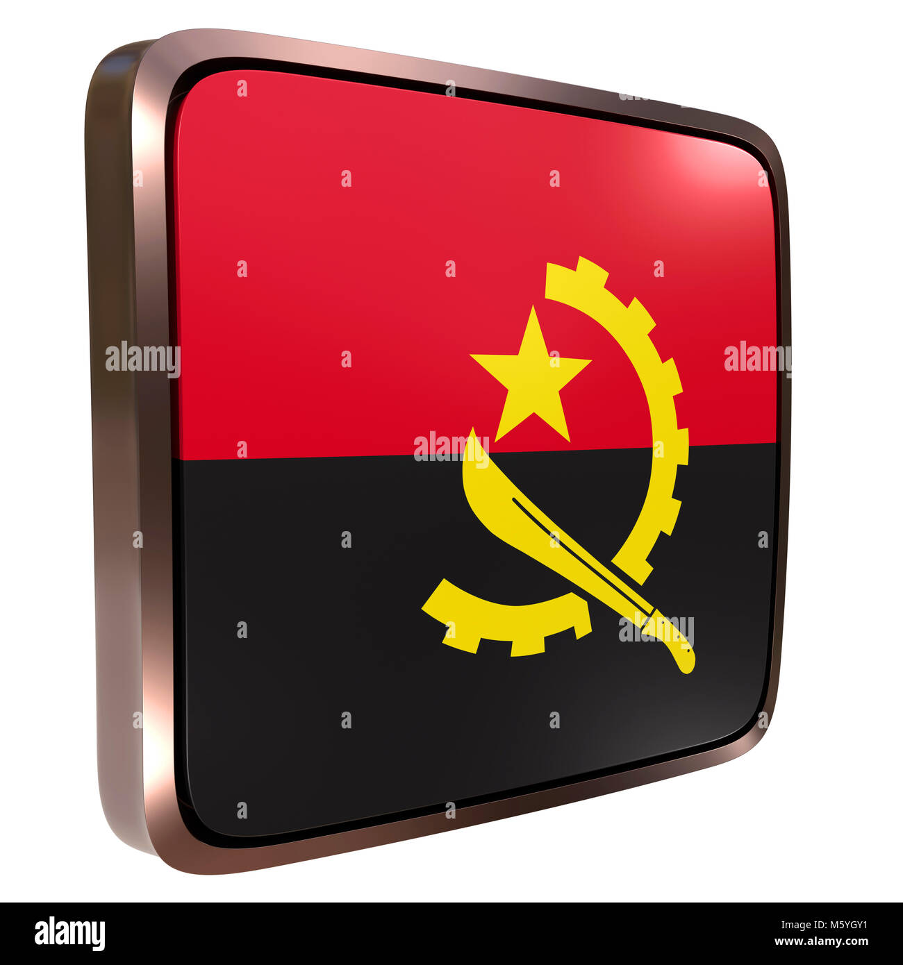 3d rendering of an Angola flag icon with a metallic frame. Isolated on white background. - Stock Image