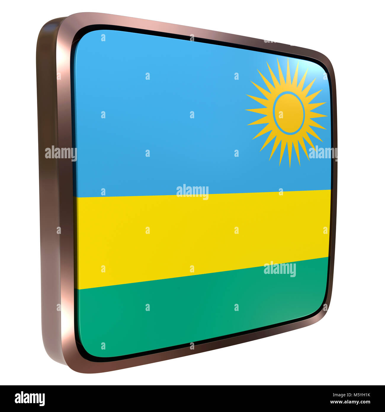 3d rendering of a Republic of Rwanda flag icon with a metallic frame. Isolated on white background. - Stock Image