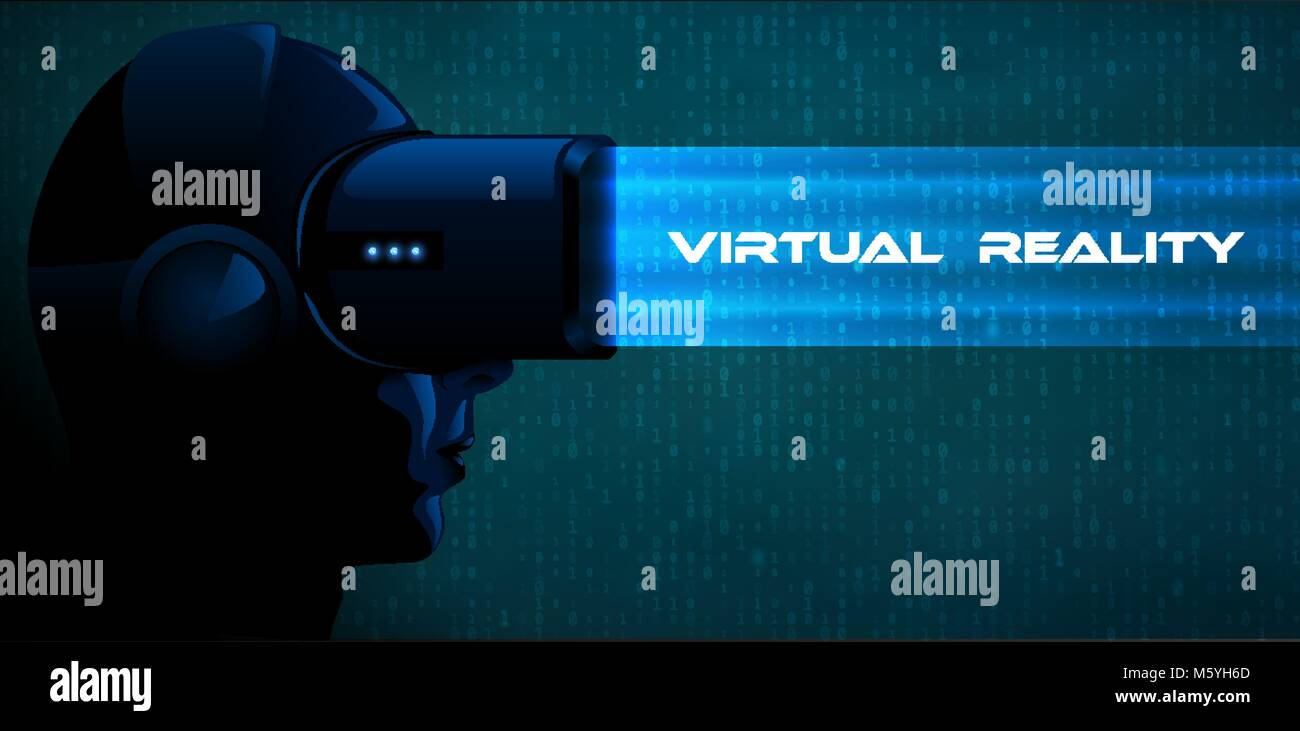2313c96db1 Vector young woman wearing virtual reality headset 3d glasses with blue  ray. Game anime movie
