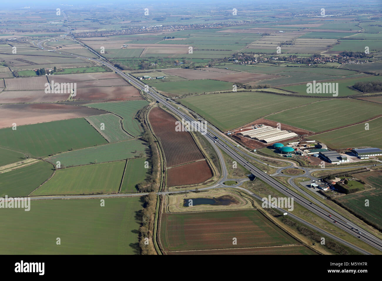 aerial view of the A46 trunk road where the Nottingham Road meets the Stagglethorpe Road near Cotgrave, Nottinghamshire, - Stock Image