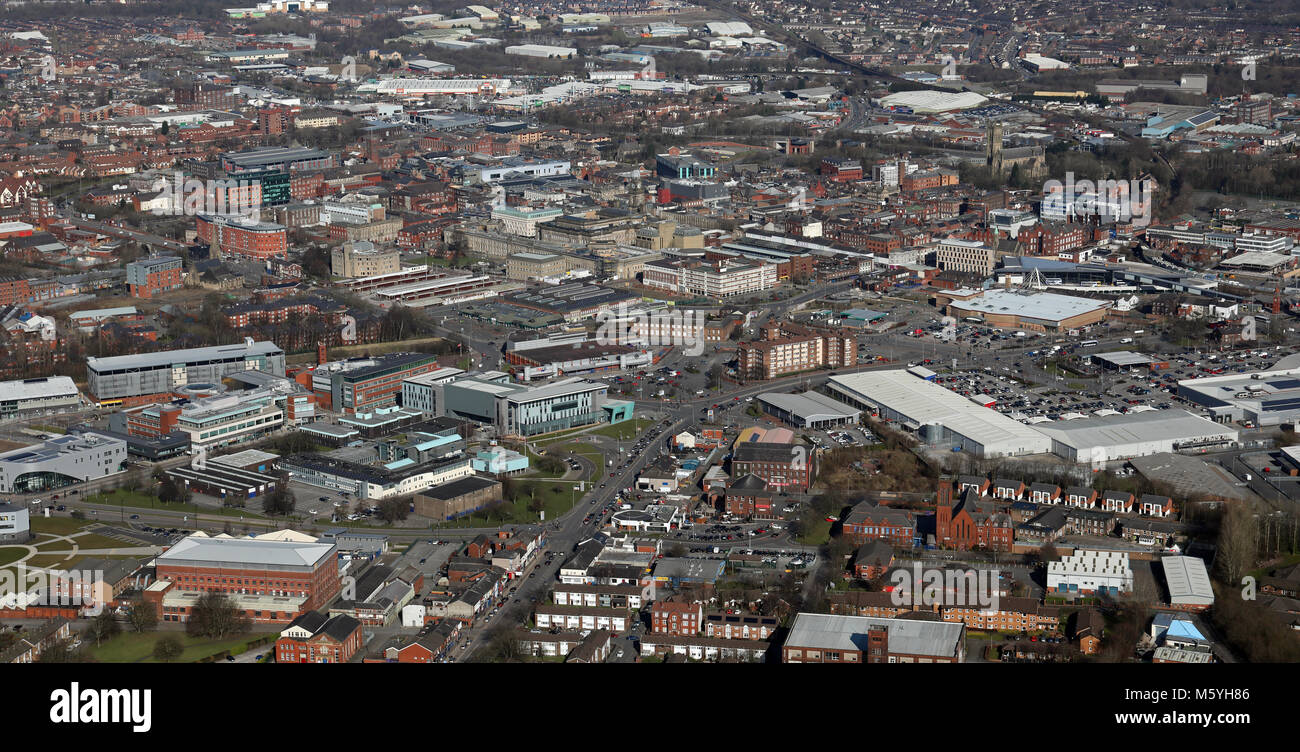 aerial view of Bolton town centre from the south, Greater Manchester, UK - Stock Image