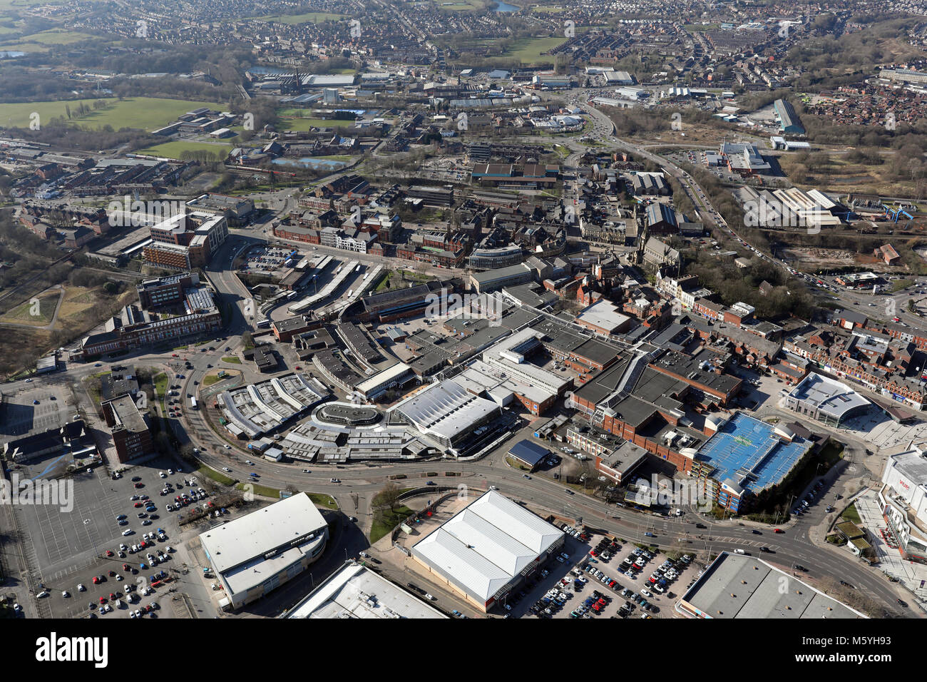 aerial view of Bury town centre, Greater Manchester, UK - Stock Image