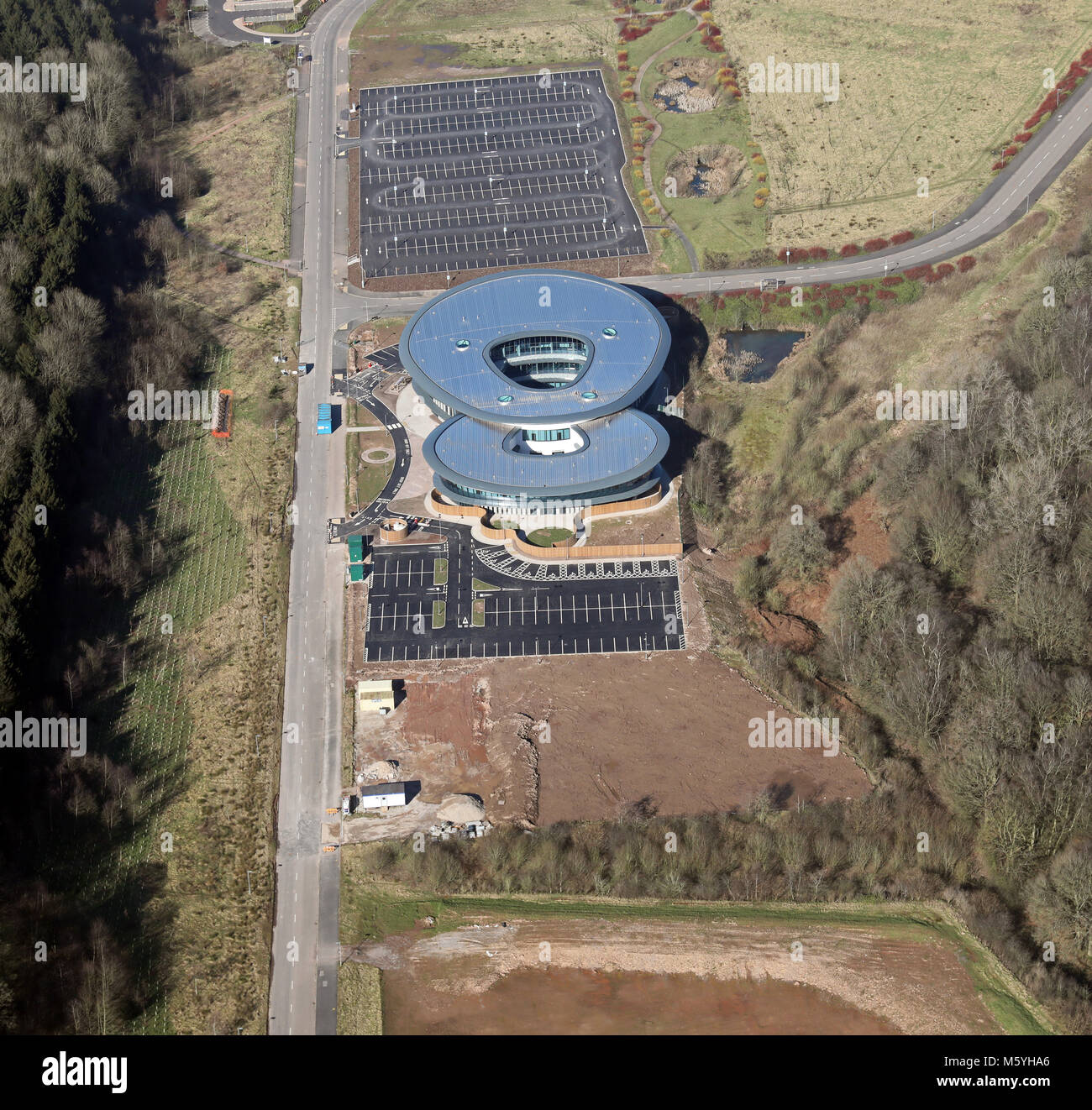 aerial view of an 8 shaped building at the Science Park of Keele University, Staffordshire, UK - Stock Image