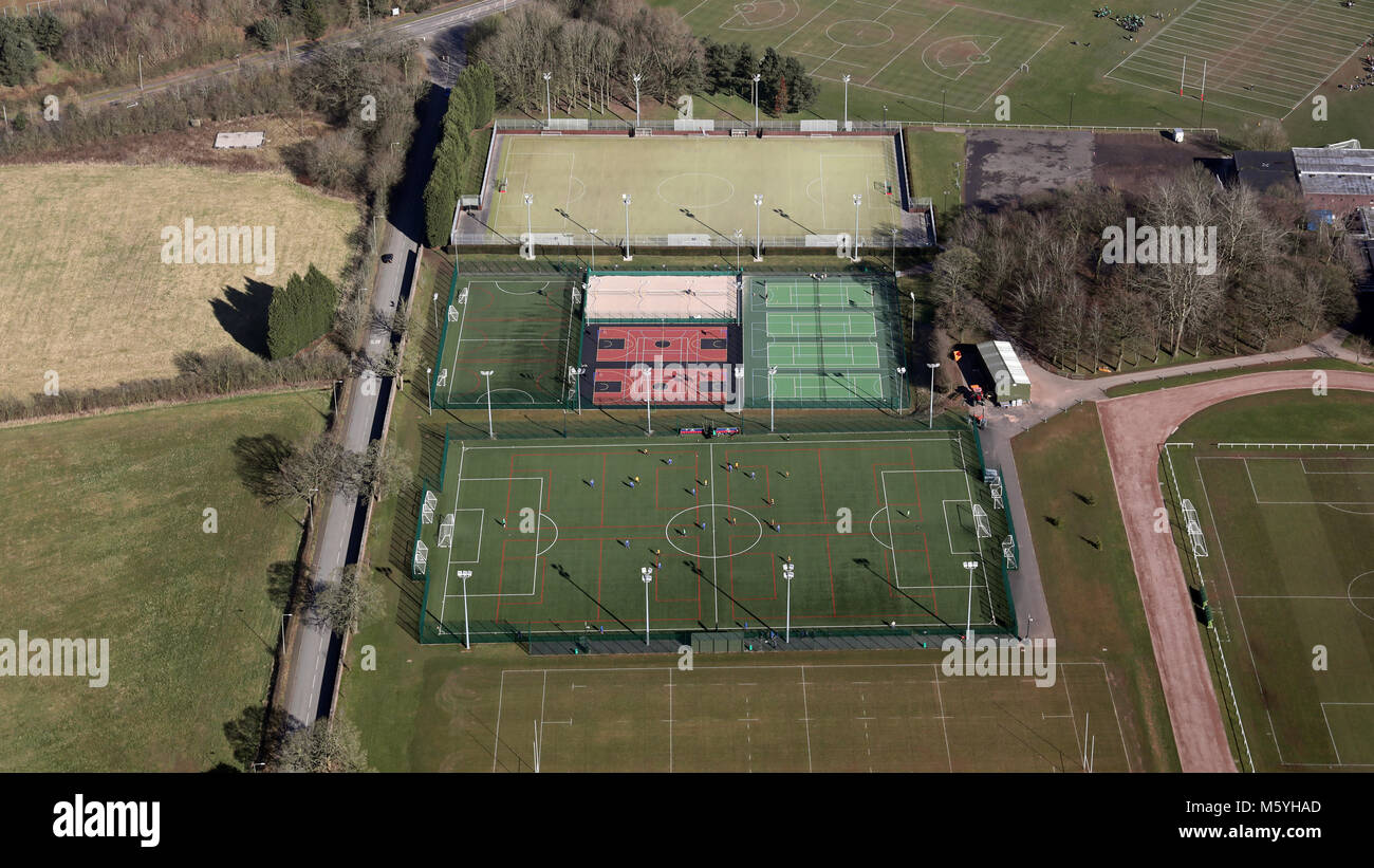 aerial view of outdoor floodlit sports pitches at Keele University, Staffordshire, UK - Stock Image