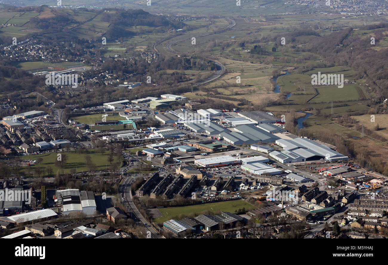 aerial view of Hard Ings Road and the Aire Valley at Keighley, West Yorkshire, UK - Stock Image
