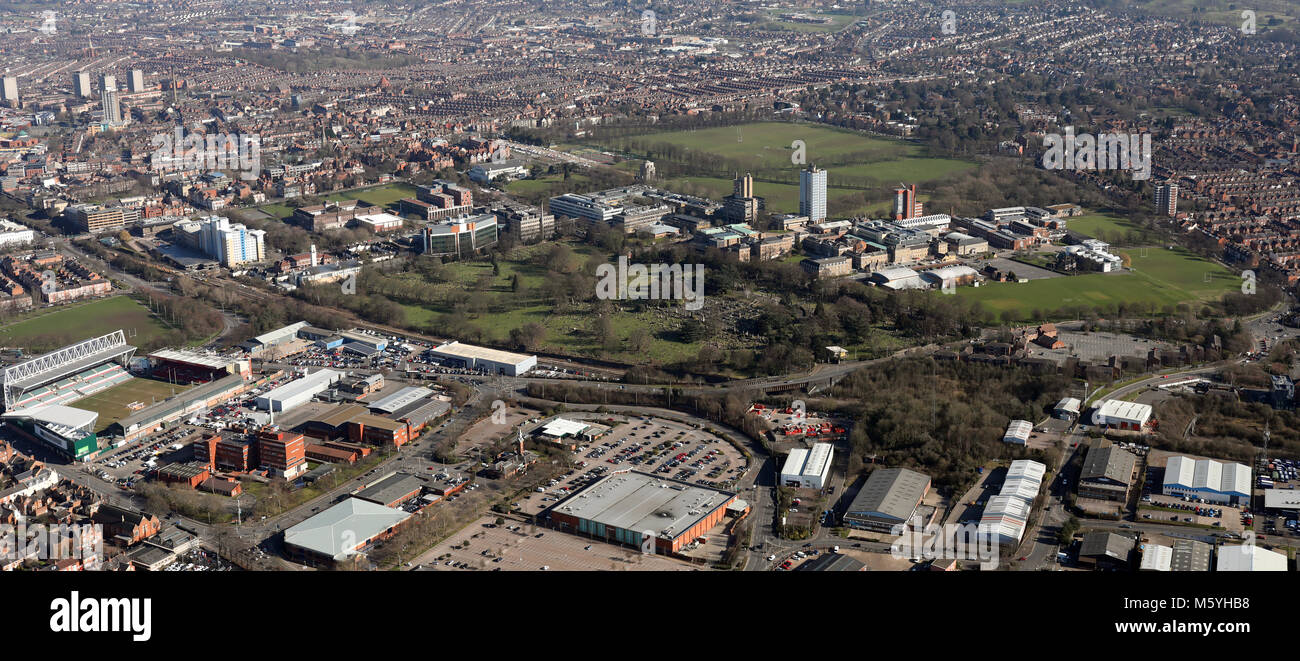 aerial view of University of Leicester &  Wyggeston and Queen Elizabeth I College, UK - Stock Image