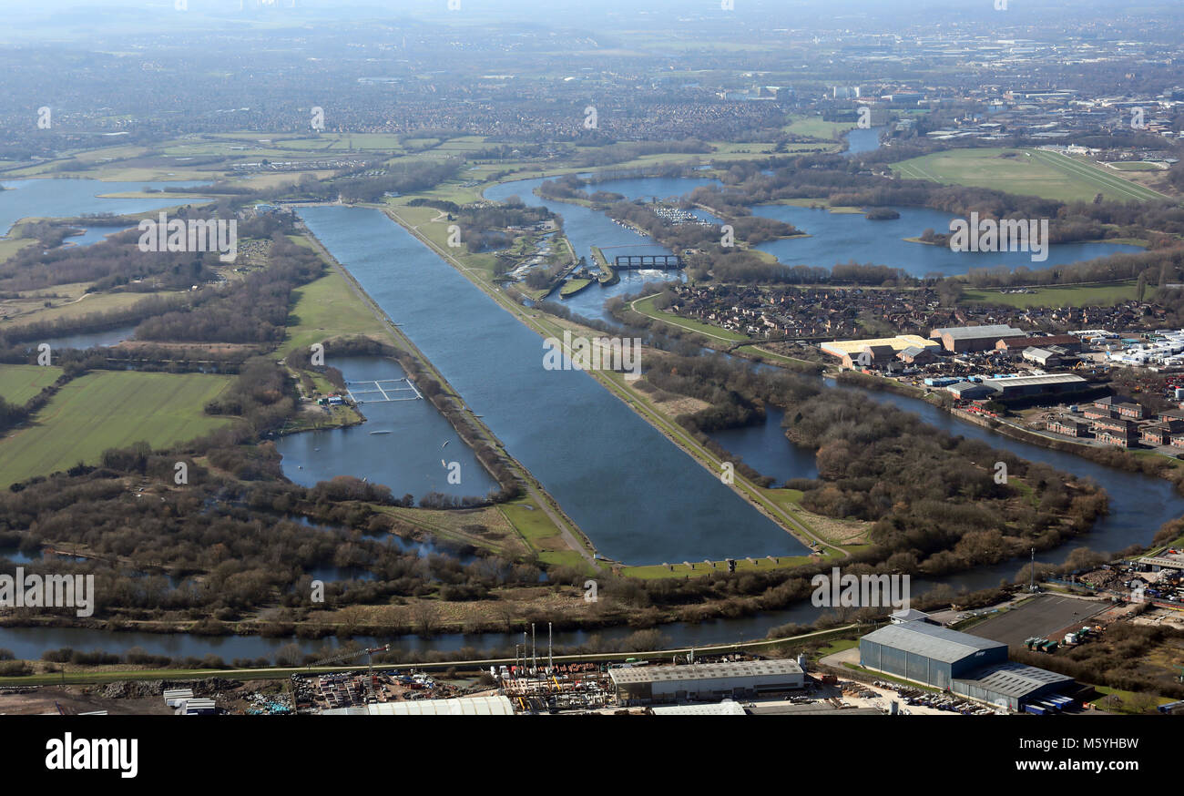 aerial view of Holme Pierrepont National Watersports Centre, Nottingham, UK - Stock Image