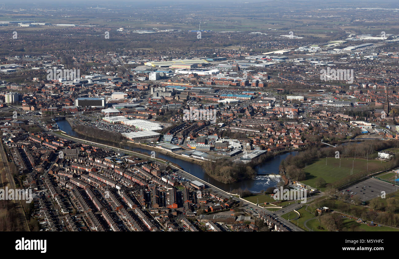 aerial view of Warrington town centre, Cheshire, UK - Stock Image