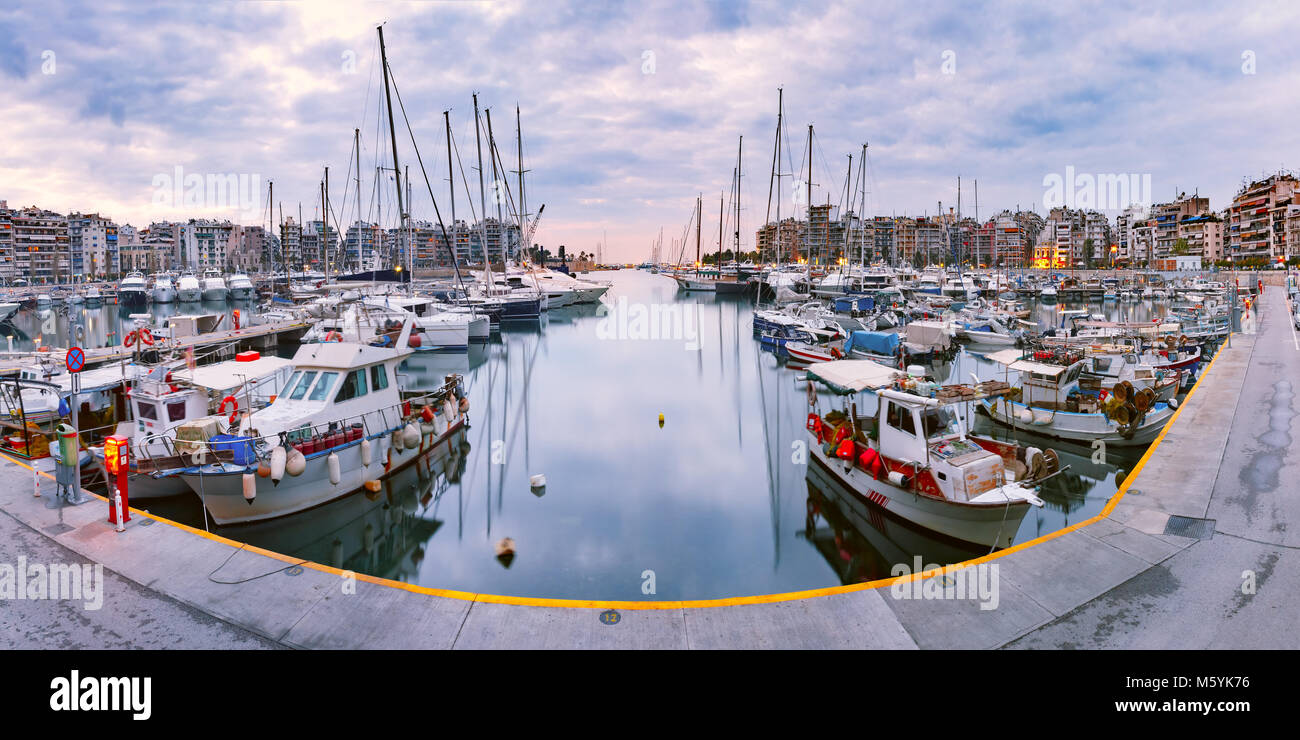 Piraeus Marina in the morning, Athens, Greece Stock Photo