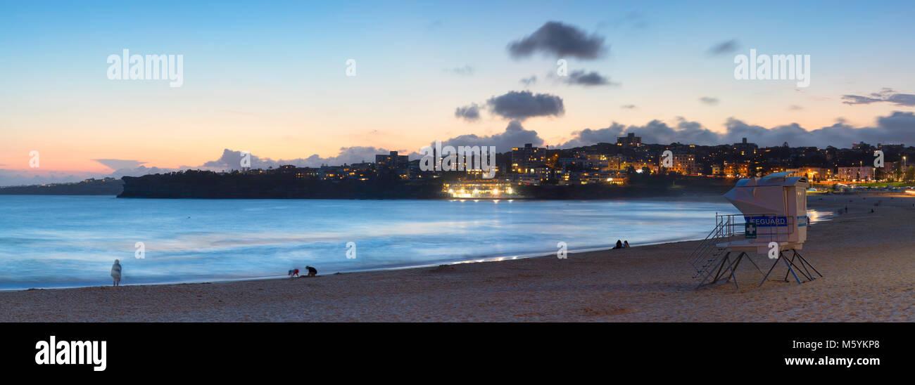 Bondi Beach at sunset, Sydney, New South Wales, Australia - Stock Image
