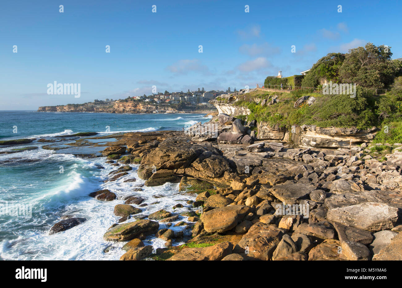 Coastline of Bondi to Bronte walk, Sydney, New South Wales, Australia - Stock Image