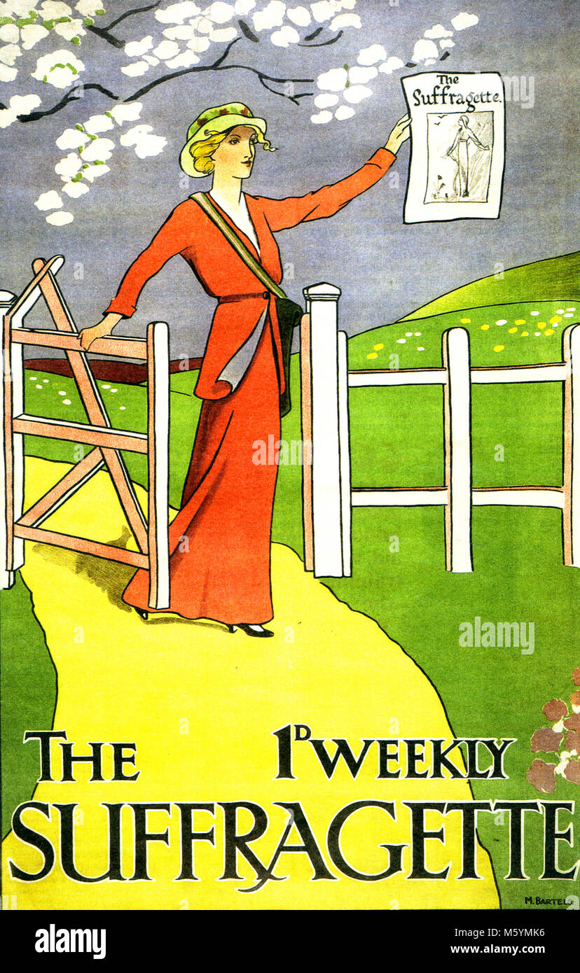 THE WEEKLY SUFFRAGETTE A 1912 poster advertising the newspaper of the  Woman's Social and Political Union (WSPU) - Stock Image