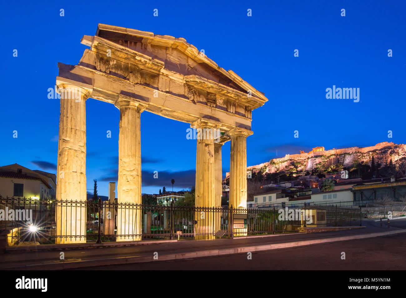 Gate of Athena Archegetis in Athens, Greece - Stock Image