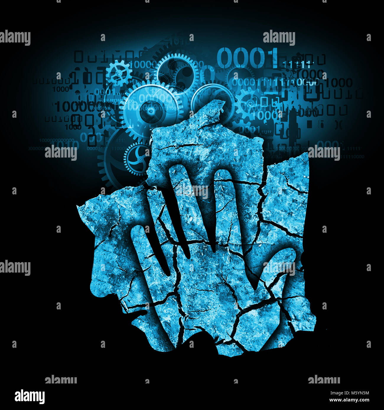 Male head digital dementia. Man holding his head.Photo-montage with Dry cracked earth and gear and binary codes - Stock Image