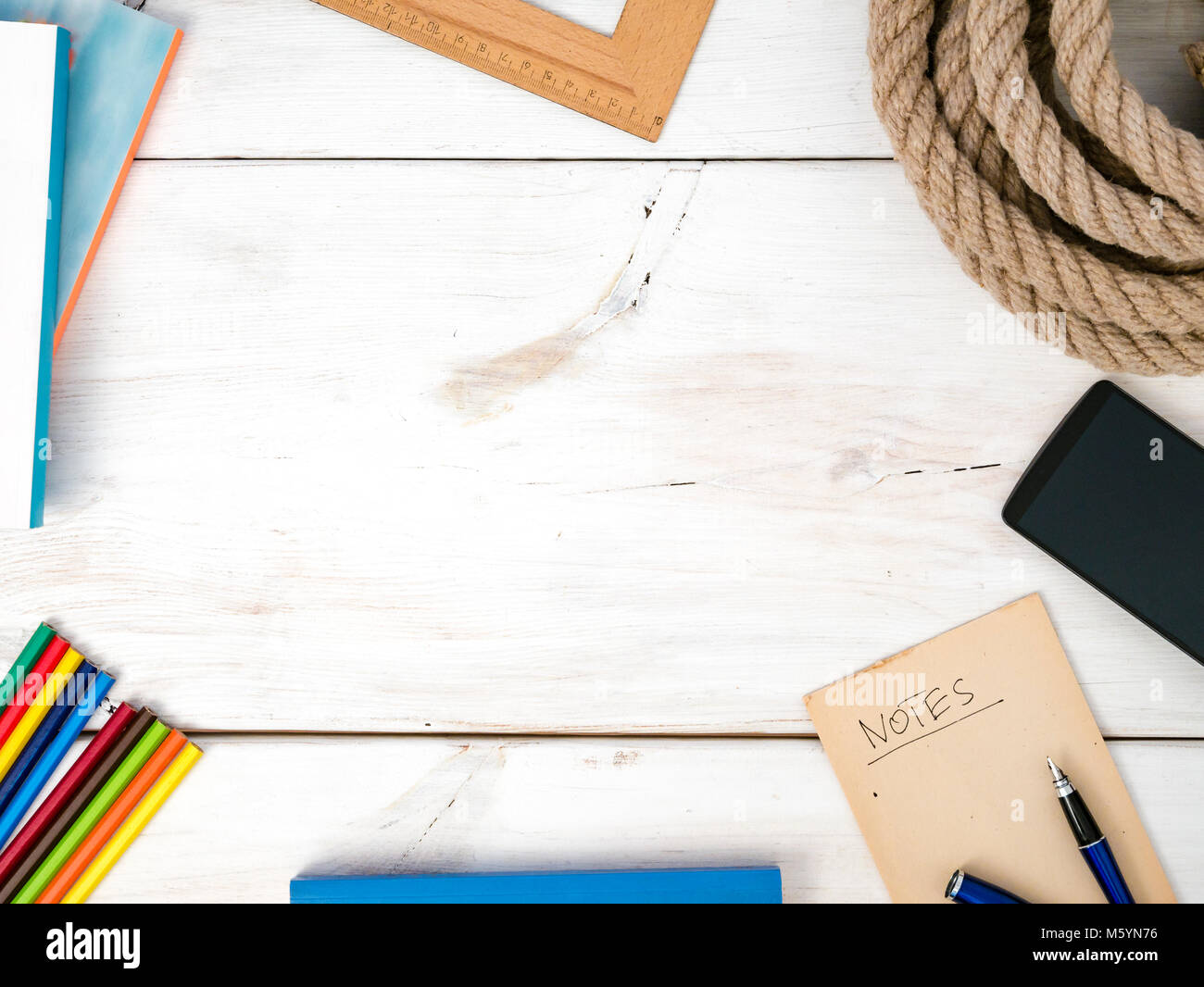 Learning concept. Flat lay of study accessories. - Stock Image