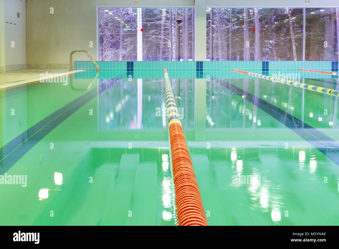 Lap Pool With Marked Lanes Empty Swimming Without People Quiet Standing Water Sports In Indoor Spa And Complex For Pan