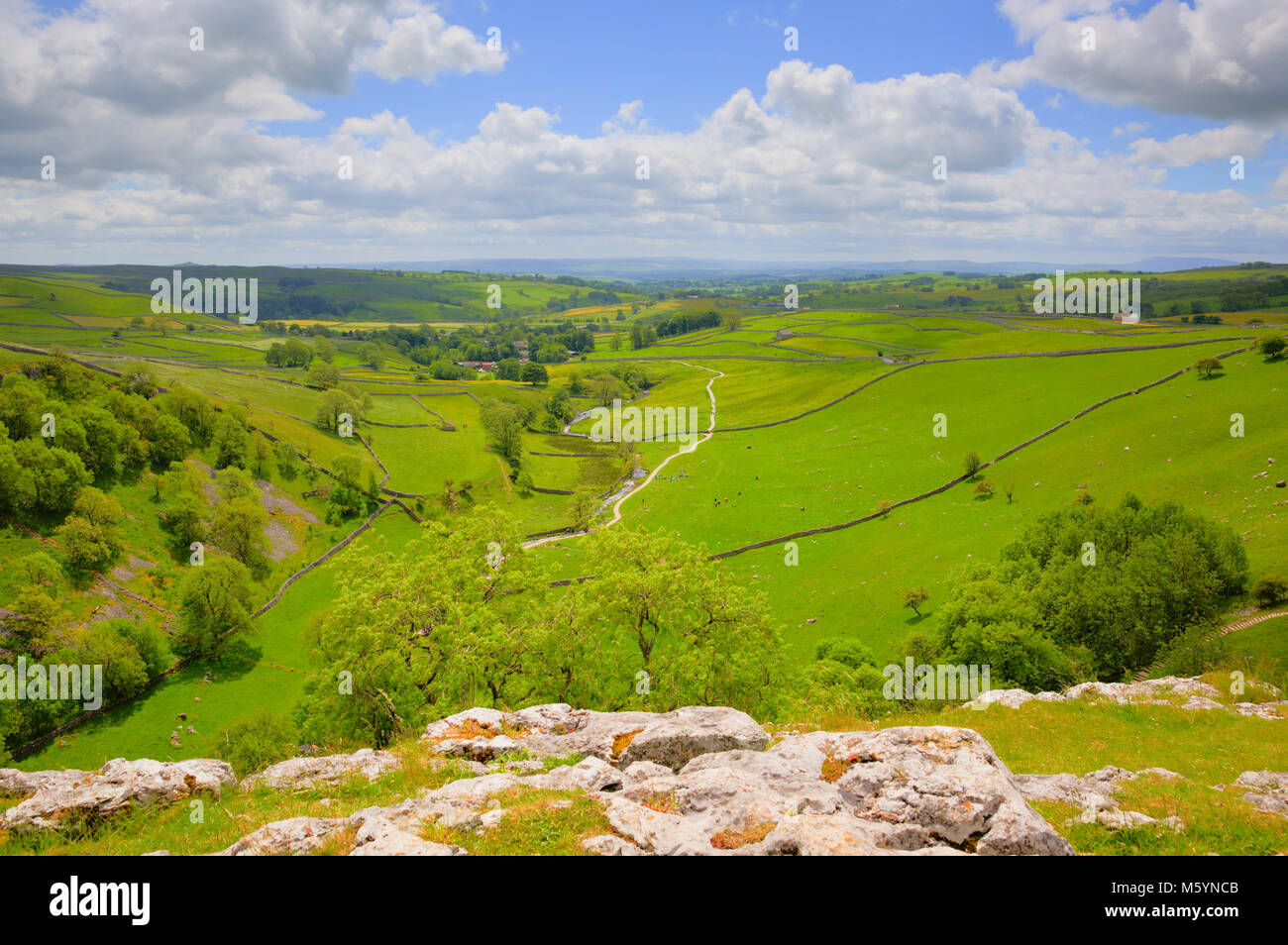 Yorkshire dales from Malham Cove England UK popular tourist destination - Stock Image