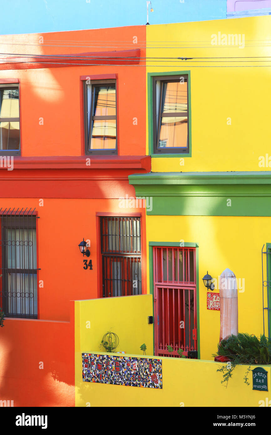 The colourful houses of the vibrant Bo-Kaap neighbourhood of Cape Town, formerly known as the Malay Quarter, in - Stock Image