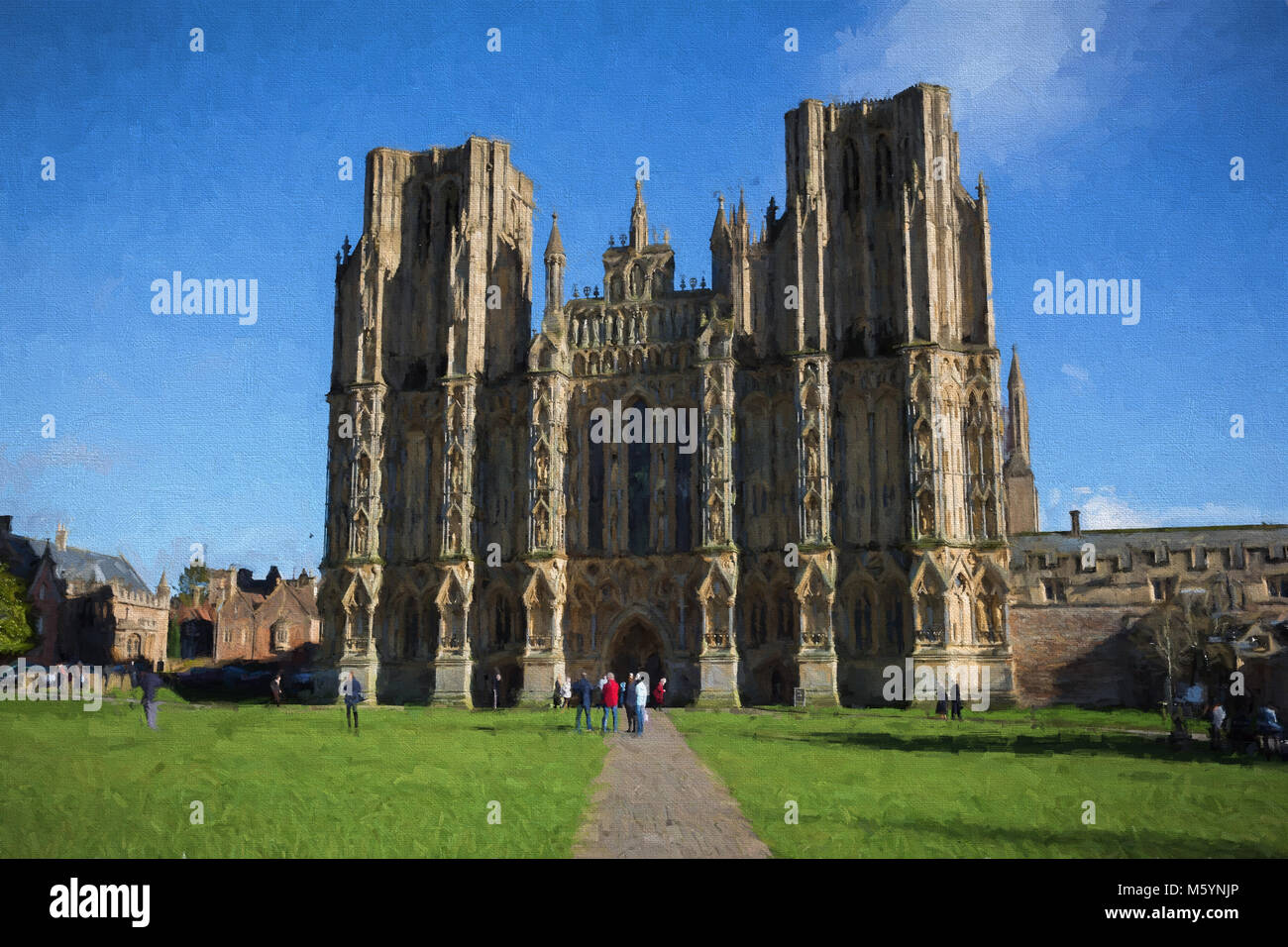 Wells Cathedral Somerset historic English building illustration like oil painting - Stock Image