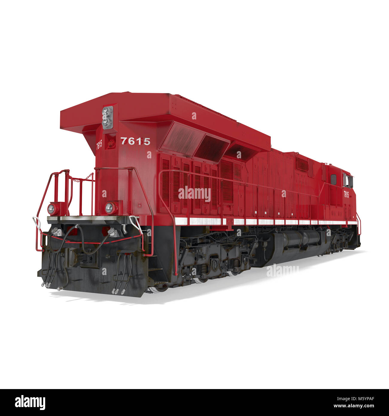 Diesel Locomotive on white. 3D illustration - Stock Image