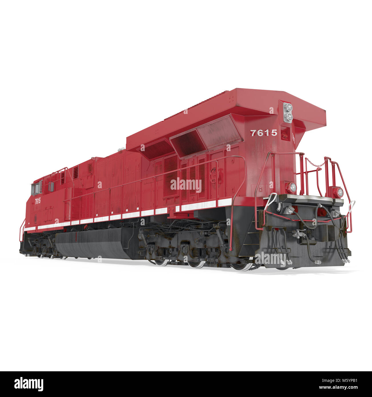 Diesel-electric locomotive on white. 3D illustration - Stock Image