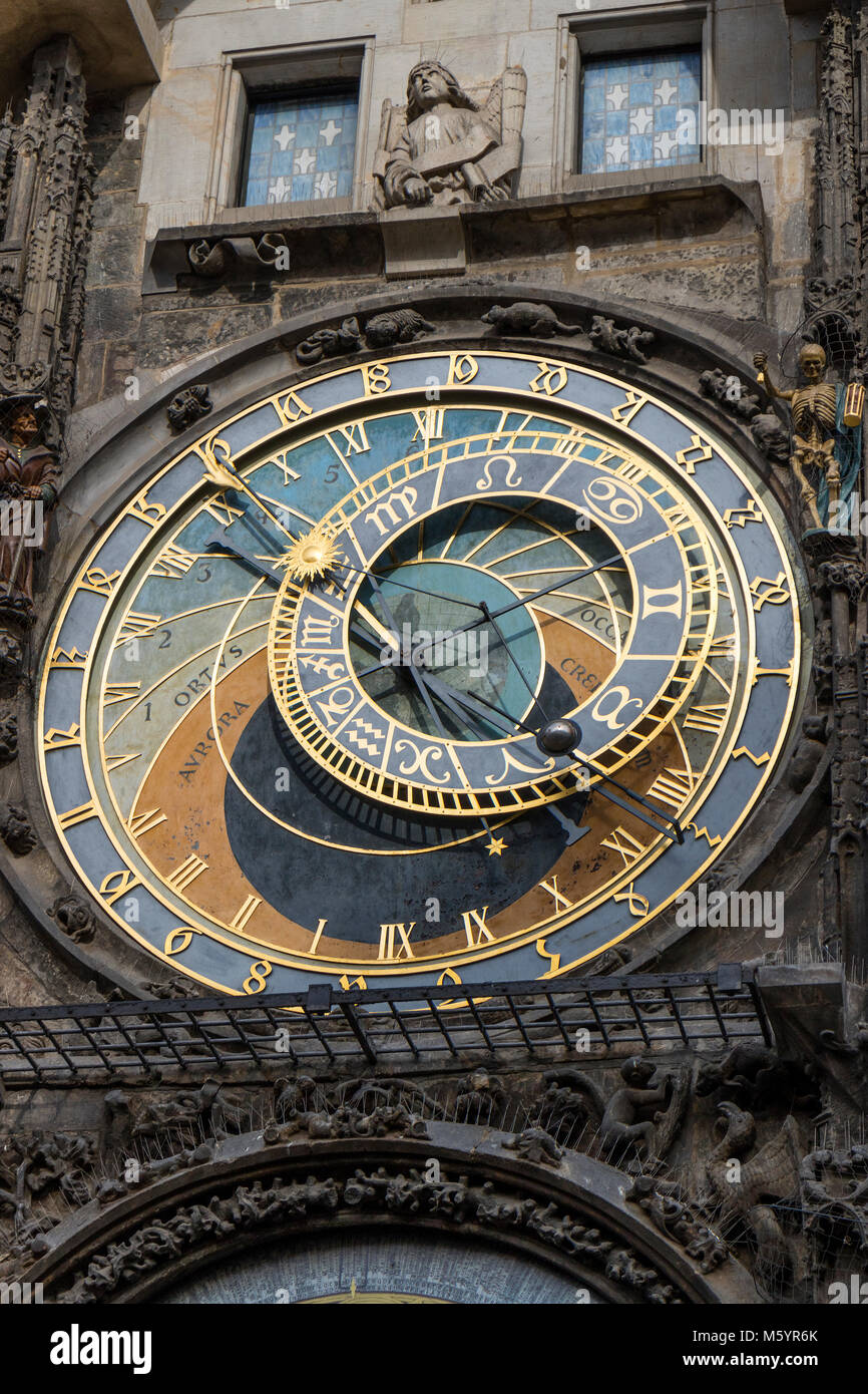 Prague, Czech Republic - October 6, 2017: Astronomical dial of the Prague Astronomical Clock on the Town Hall in - Stock Image