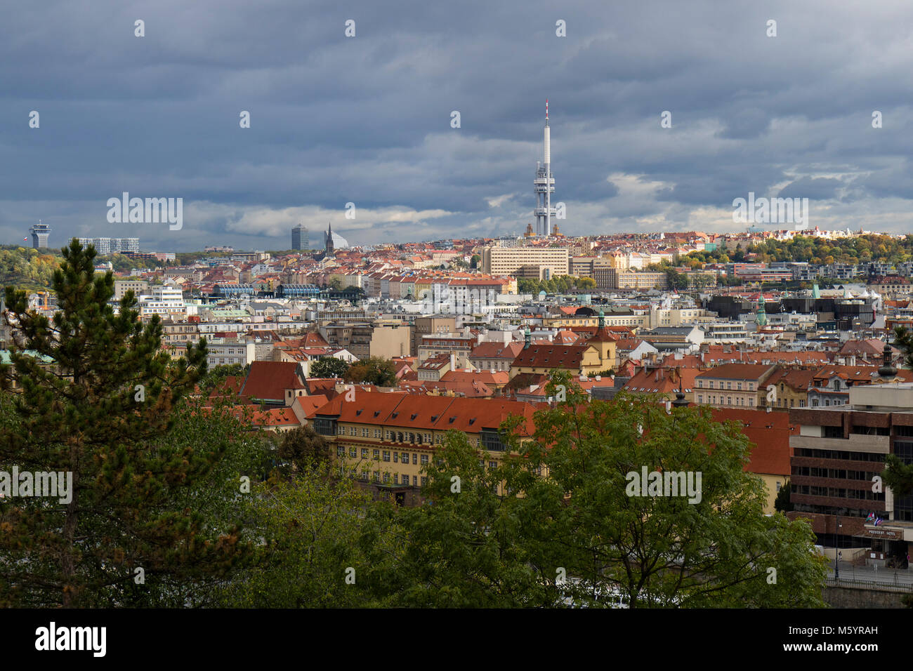 Prague, Czech Republic - October 8, 2017: Zizkov Television tower above the city horizon in autumn - Stock Image