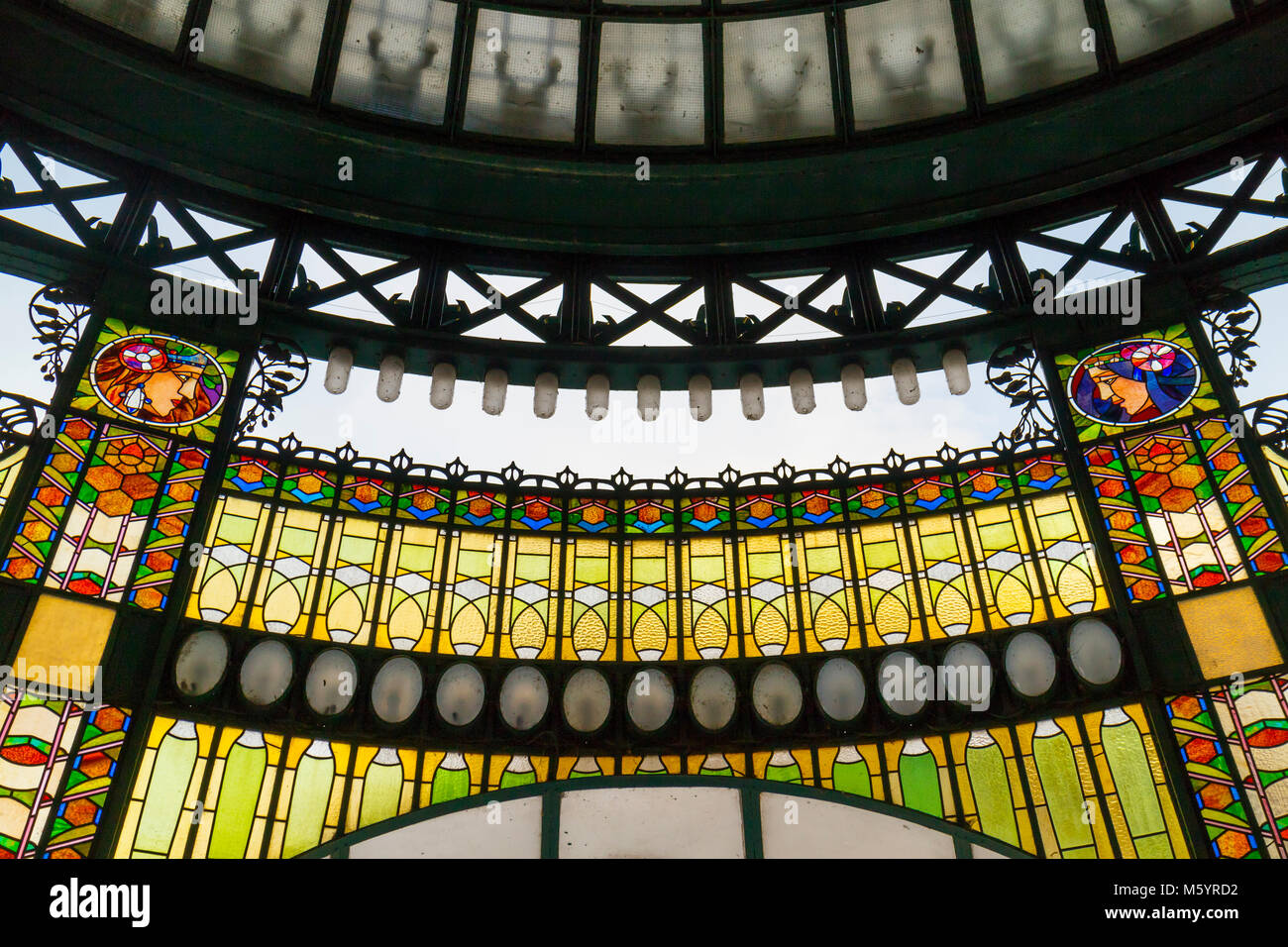 Prague, Czech Republic - October 9, 2017: The Art Nouveau stained glass facade of the Municipal House in Prague Stock Photo
