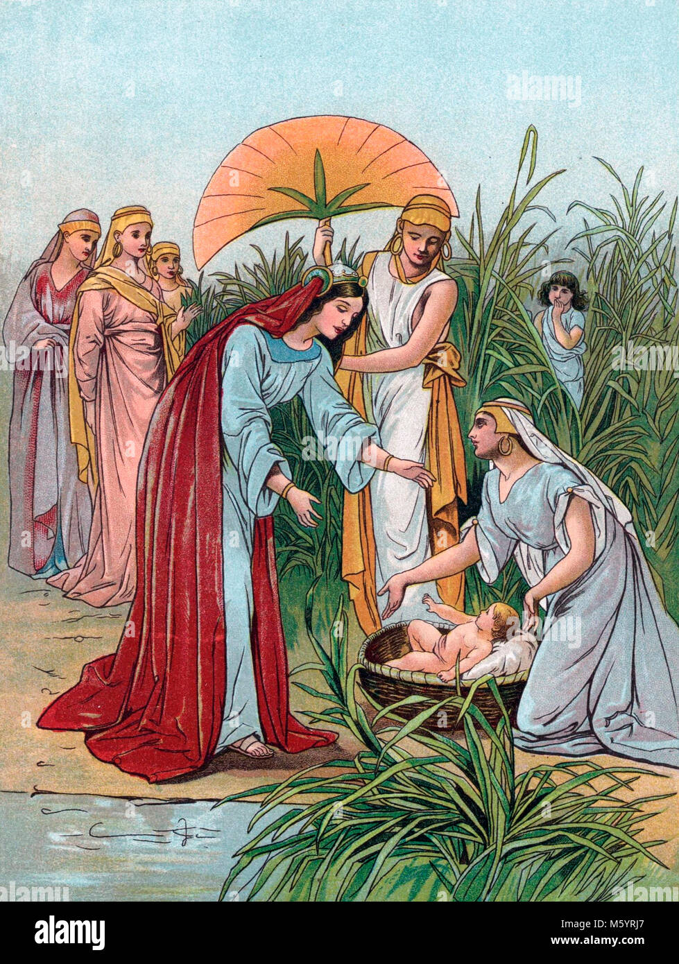 The finding of Moses in a basket by the Pharoah's daughter (Book of Exodus). Illustration from 'A Child's - Stock Image