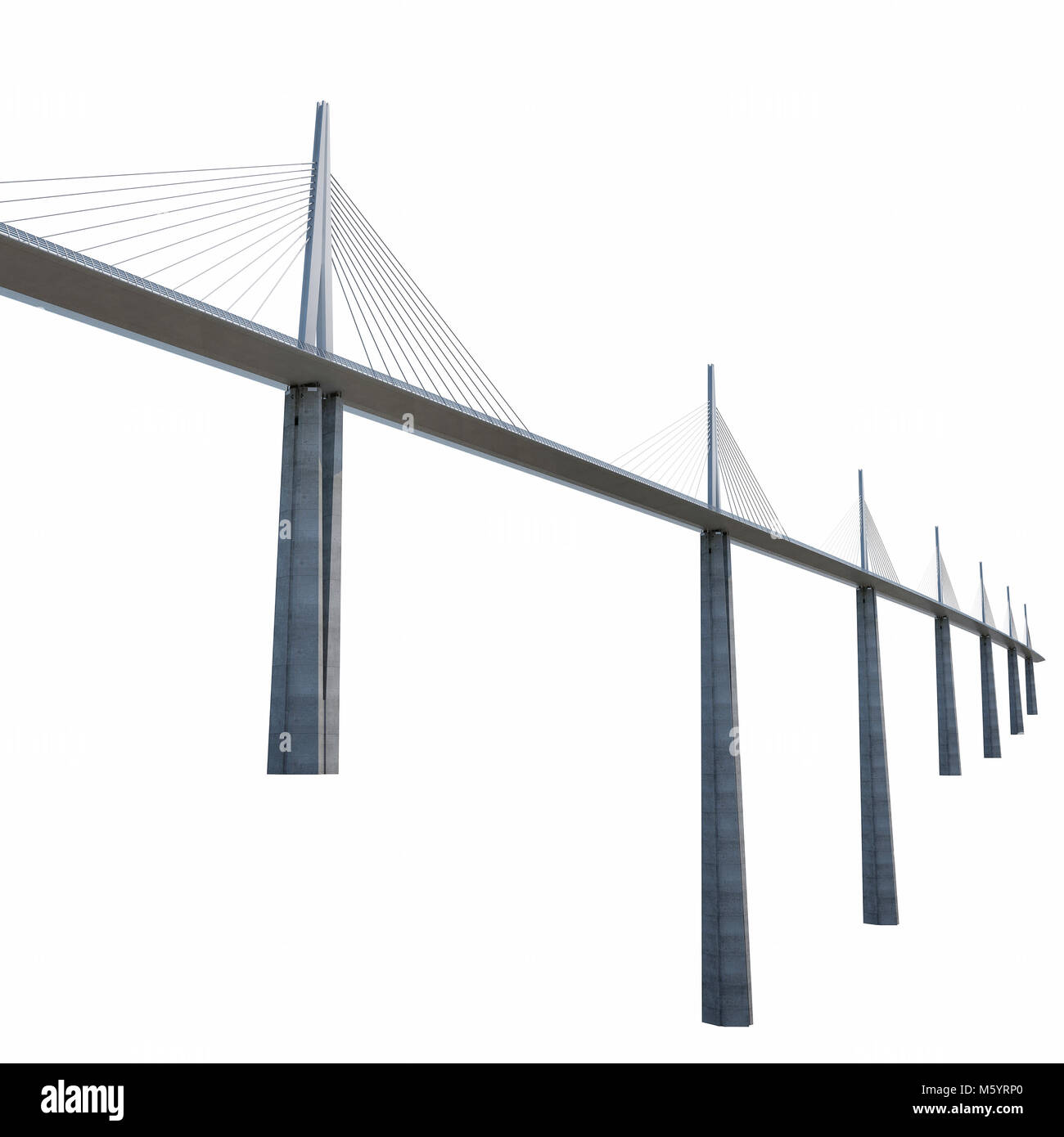 Millau Viaduct Bridge on white. 3D illustration - Stock Image