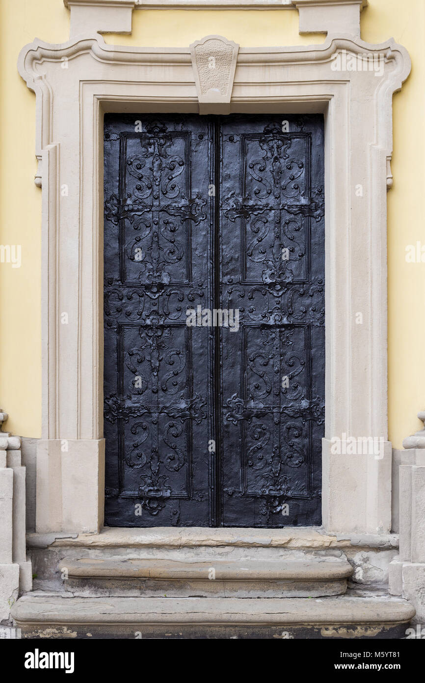 Attractive Ancient Iron Door, Stone Porch, Portal And Pediment. Full Size. Old Vintage  Pass To Fortress, Rich Man House Or Church