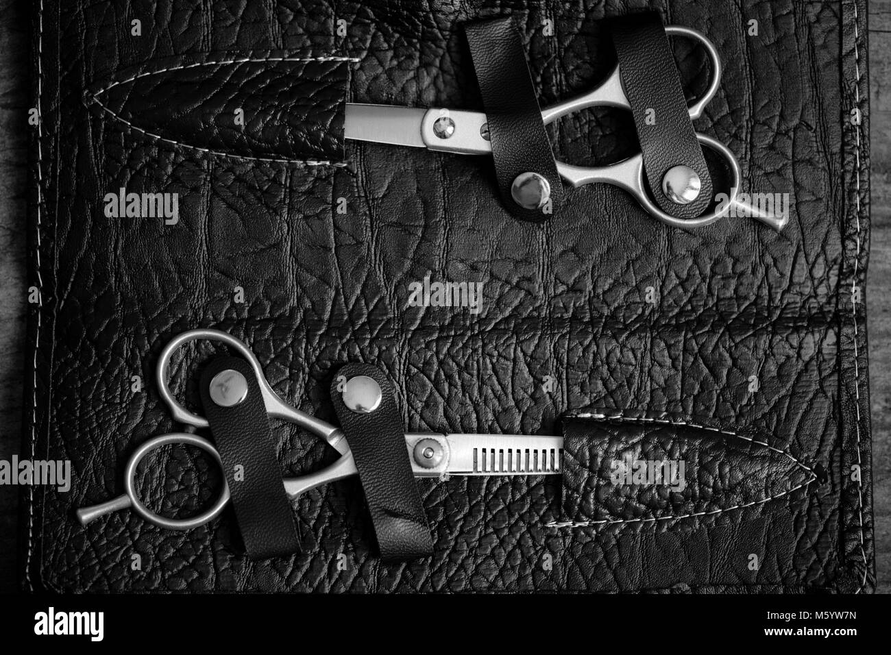 hairdresser tools - black and white photo - Stock Image