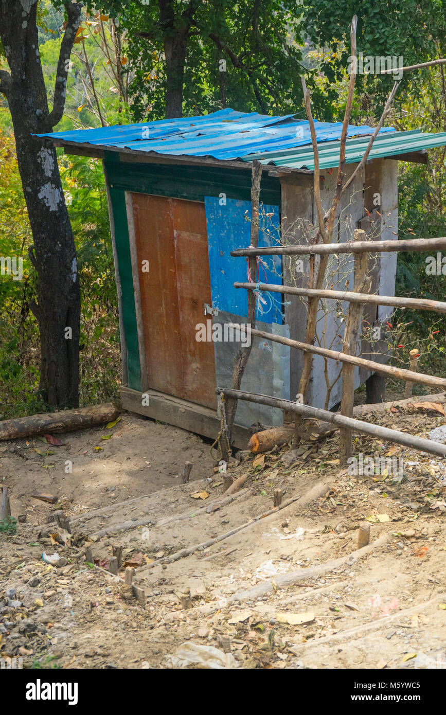 Outhouse in a developing country in Southeast Asia, Myanmar (Burma) - Stock Image