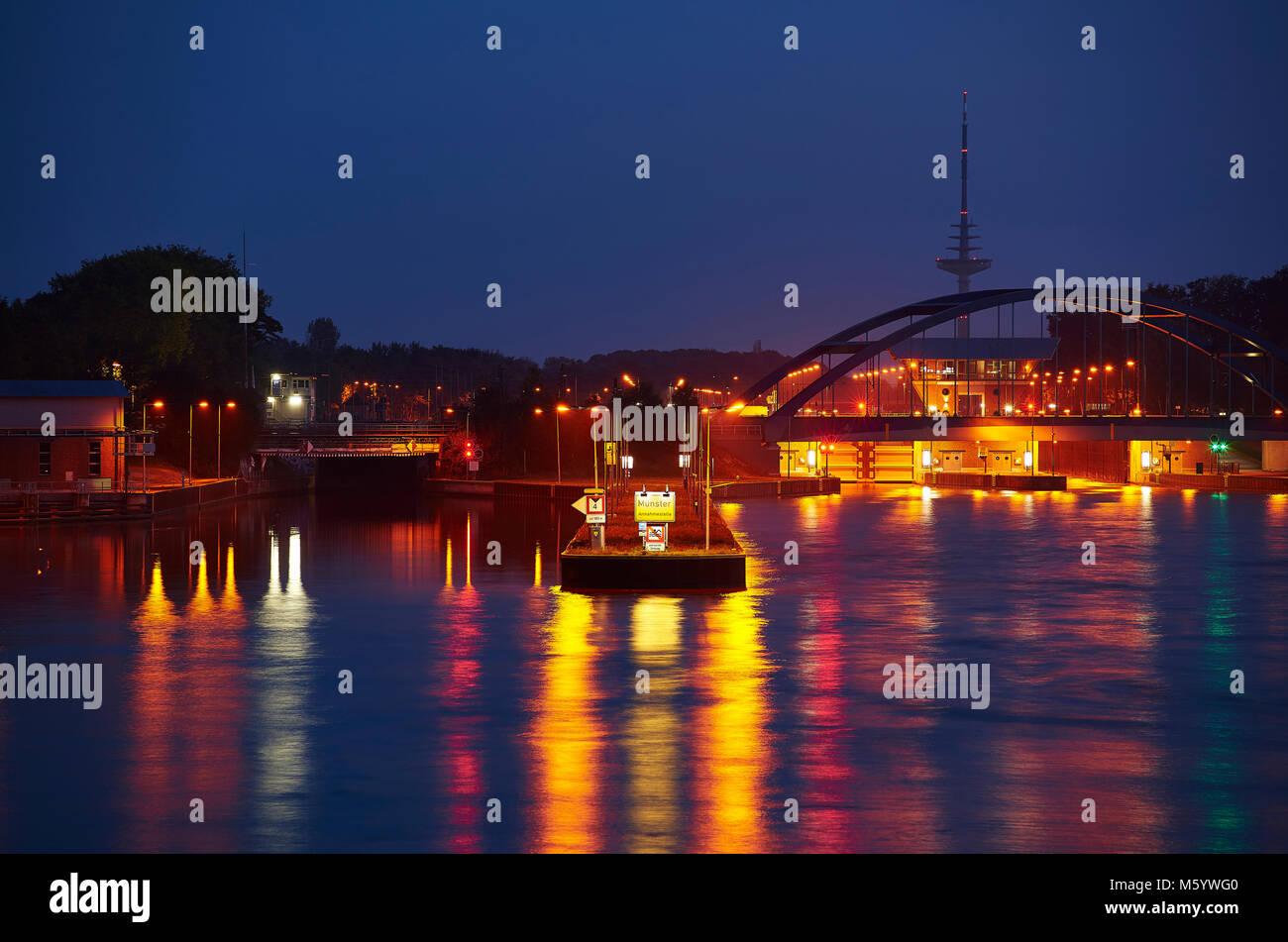 Kanalschleuse in Münster - Stock Image