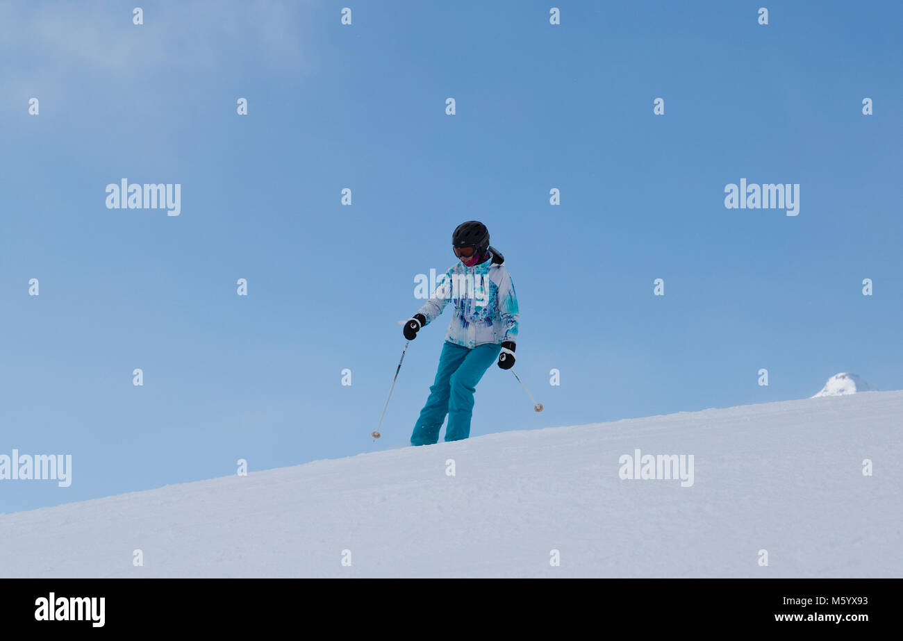 Teenage girl skiing in Flims Switzerland - Stock Image