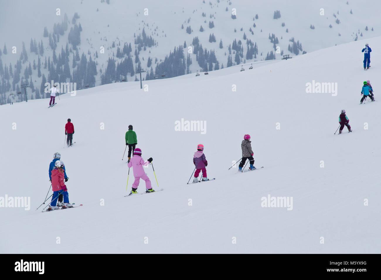 Ski school in Flims Switzerland - Stock Image