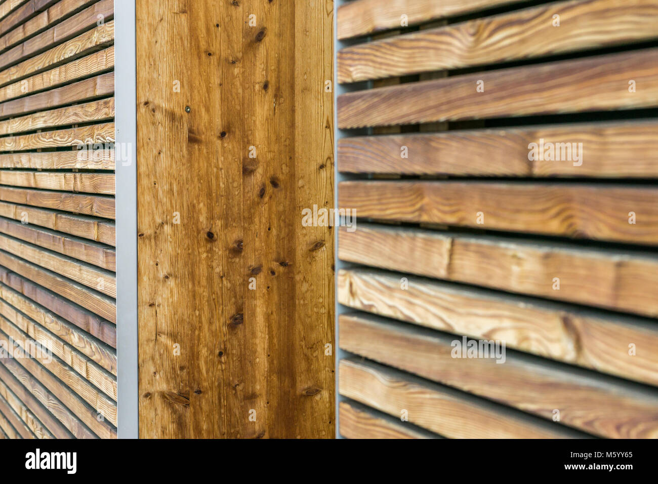 Texture of a modern wooden wall made of slats. oblique view. - Stock Image
